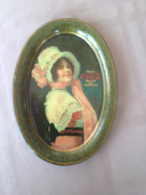 """Coca Cola 1914 Tin Tip Tray """"betty"""" Exc Cond 101 Years Old Passaic Metalware Co"""