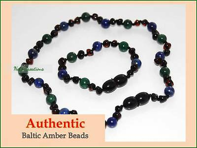 Certified Genuine Baltic Amber Necklace Bracelet Baby Child Lapis Lazuli Jade