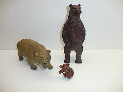 "Lot of 3 Vinyl Grizzly Bear & Cub Figures – 2"" to 7.5"" Tall – AAA, Lucky Star"
