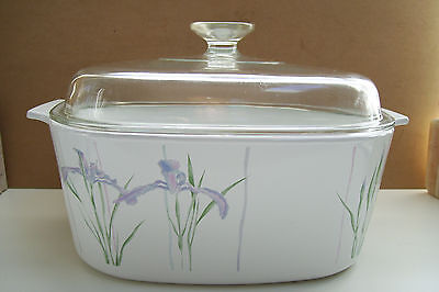 Pyrex Corning Ware Shadow Iris Baking Dish Large With Glass  Lid 5 Liters A-5-B