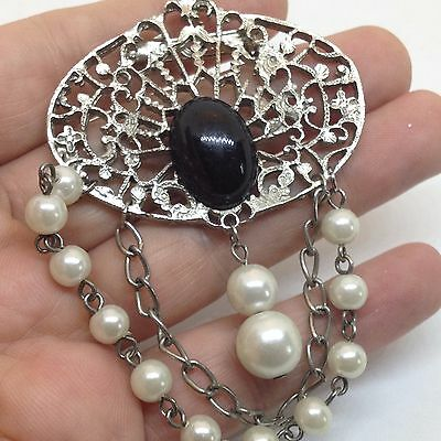 Vintage BLACK CAB FAUX PEARL DANGLE PIN BROOCH Silver Tone Costume Jewelry