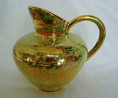 Handpainted Stangl Pottery Pitcher...mint Green & 22 Kt. Gold...super Shiny!