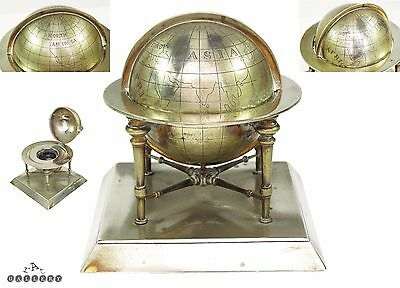 Victorian Silver Gilt Plated Terrestrial Globe Inkwell c.1880