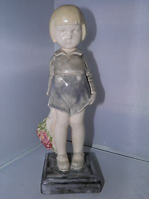 Rare Alex Kelety Figurine of a Charming Girl Holding Flowers - Excellent Cond