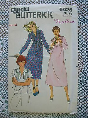 BUTTERICK Vintage Pattern #6025 Loose Fitting Dress and Top Size 12 Uncut
