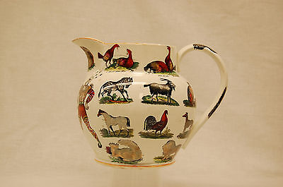 Rare Elsmore and Forster Ironstone Ale Jug with Exotic Animal Transferware