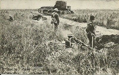 WWI Battlefield Postcard British Whippet Tank in the Field France Nice Card NR