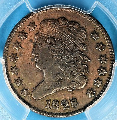 1828 13 Stars Classic Head Half Cent PCGS XF45- Nice Lookin Early Copper