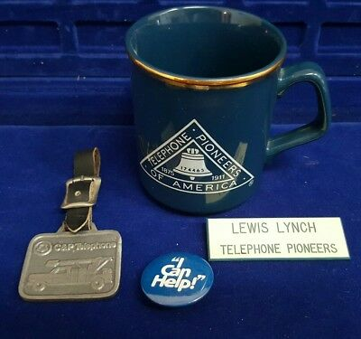 C&P Bell Telephone Lineman Pewter Fob Mug Badge Pin Pinback