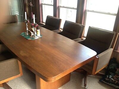 Vintage Marden Black Walnut Table and Chairs, Large Table, Dining Room Table