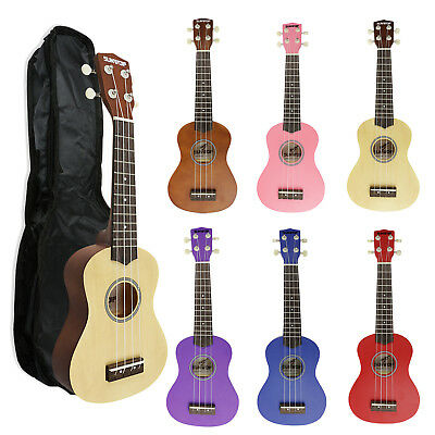 21 Inch 4 String Ukulele Ukelele Kids Bignners Uke With Black Instrument  Bag