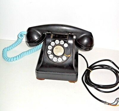 Vintage BELL SYSTEM Western Electric F1 BLACK ROTARY PHONE wRARE BLUE PHONE CORD
