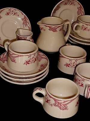 Shenango Inca Ware Rose Point 18 Piece Cups and Saucers /  Creamers