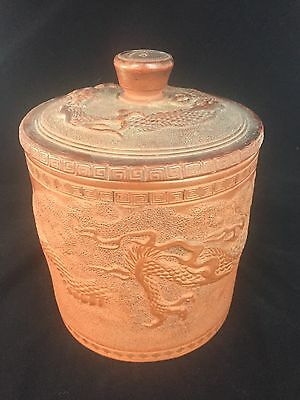 Antique Dragon Chinese red clay Yixing Tea Caddy
