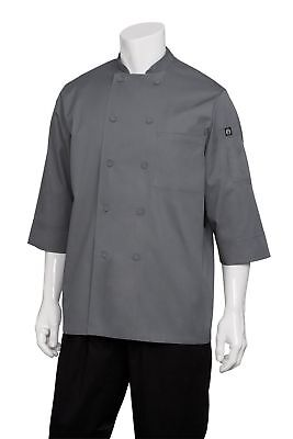 Chef Works Men's Essential 3/4 Sleeve Chef Coat (JLCL) Grey 2XL