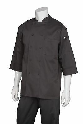 Chef Works Men's Essential 3/4 Sleeve Chef Coat (JLCL) Black Large