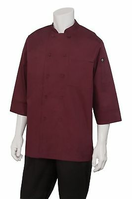Chef Works Men's Essential 3/4 Sleeve Chef Coat (JLCL) Merlot Large