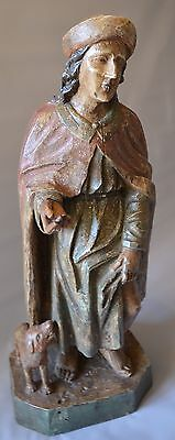 18th Century Carved Polychrome Figure Of St Roch