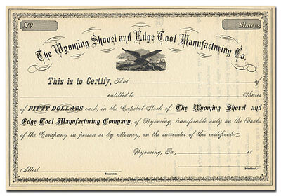 Wyoming Shovel and Edge Tool Manufacturing Co. Stock Certificate (1800's)