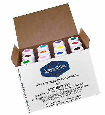Food Coloring AmeriColor Student Kit 12 .75 Ounce Bottles Soft Gel Paste Colors