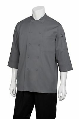 Chef Works Men's Essential 3/4 Sleeve Chef Coat (JLCL) Grey X-LARGE