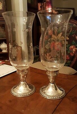 DUCHIN CREATION Sterling Silver Candlesticks With Etched Glass Hurricane Globes