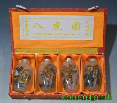 4PC Wonderful Chinese Inside Painted Animal Tiger Glass Snuff Bottle