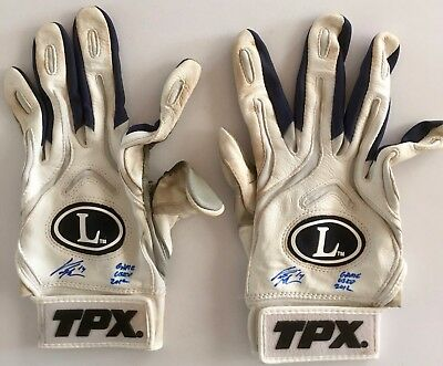 2012 Curtis Granderson signed New York Yankees game used white batting gloves