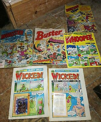 6 x retro comics whoopee buster whizzer and chips wicked! 1989 & 1988