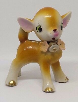 Vintage Collectible Ceramic Figurine Fawn Deer Gold Hand Painted Animals Japan