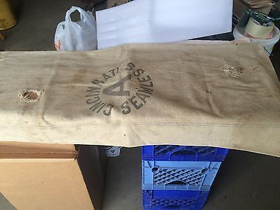 A SEAMLESS  cotton canvas SEED grain FEED BAG SACK ORIGINAL