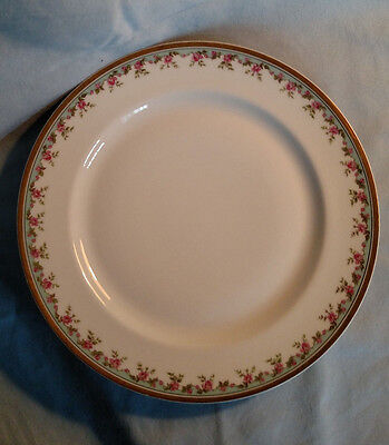 Haviland Limoges Dinner Plate - Pink Roses with Turquoise and Gold Trim
