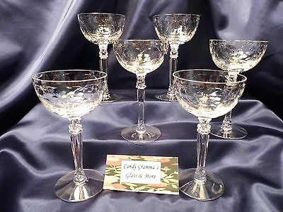 Vintage Etched Crystal Fostoria Christiana Cordial Liquor Wine Glass Set of six