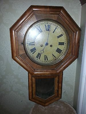 Antique Octagonal Schoolhouse Drop Dial Wall Clock with HAC Movement Circa 1892