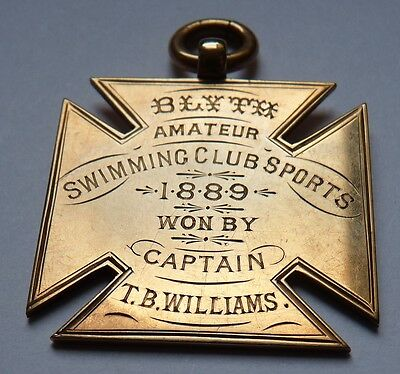 1889 Blyth Swimming Club gold medal Northumberland inscribed boxed antique sport
