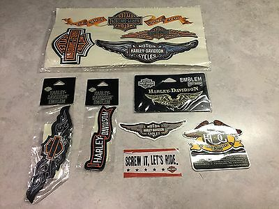 Lot of 10  Harley Davidson 3 sew on  Emblems & 7 Decals