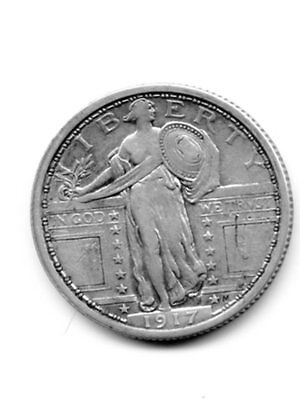 1917 P Standing Liberty Type I Quarter - Nice XF Details