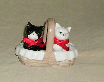 White Cat and Black Cat in a Basket Salt and Pepper Shakers