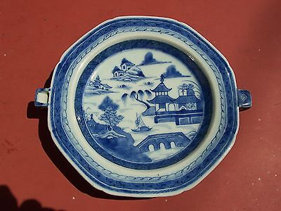 Chinese Export Porcelain Hot Water Plate Canton 19th Century Blue & White