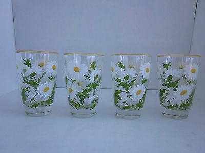 Set of 4 Vintage Libbey White Spring Daisy Tumblers