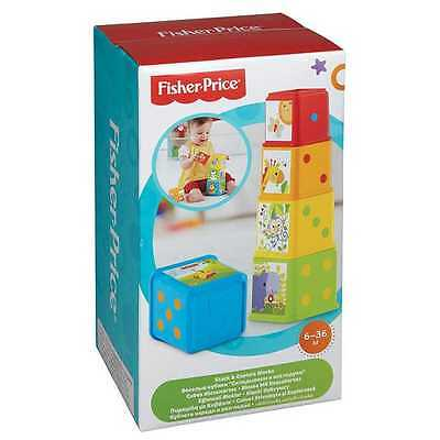 Fisher-Price Stack & Explore Blocks Baby Toy 9-36 Months Stacking Blocks NEW