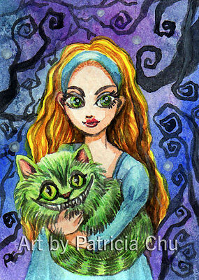 """ACEO LE Art Card Print 2.5""""x3.5"""" Alice And Cheshire Cat Art by Patricia"""