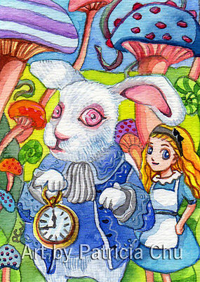 "ACEO LE Art Card Print 2.5""x3.5"" Bunny And Alice Art by Patricia"