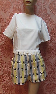 3Pc LOT* VTG 1950s MAD-COOL Mid-Century Mod CHINOISSERIE SILK SHORTS-CROP TOP NR