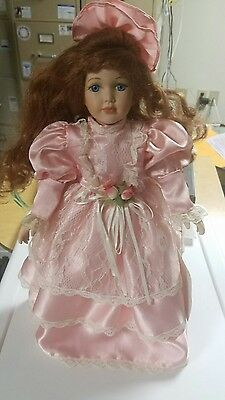 "COLLECTIBLE 16  PORCELAIN DOLL, BRUNETTE, BLUE EYED ""HEATHER"" w/ STAND"