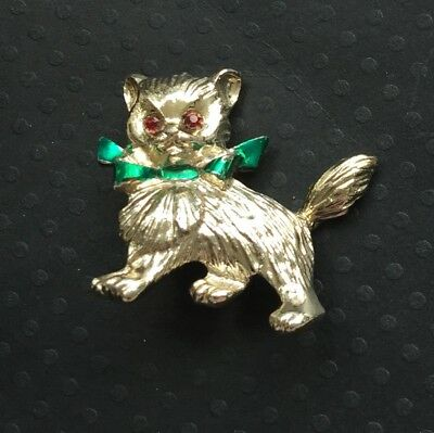 Adorable Vintage Cat With Bow Brooch In Gold Tone Metal