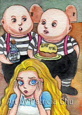 "ACEO LE Art Card Print 2.5""x3.5"" Eat Me and Drink Me Art by Patricia"