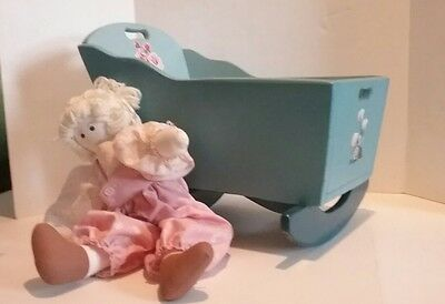 hand made Antique 1943 Doll Cradle family history on bottom