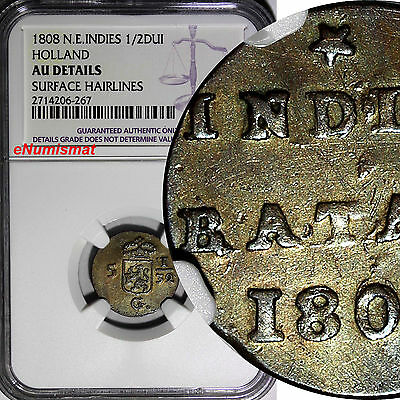 Netherlands East Indies Copper 1808 1/2 Duit NGC AU DETAILS RAINBOW TONED KM# 75