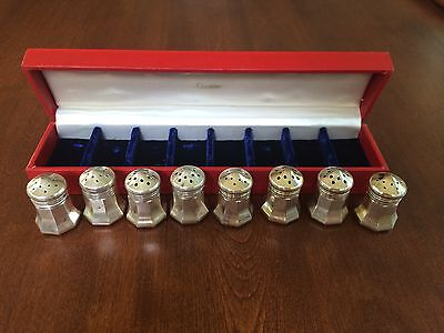Vintage Cartier Sterling Silver Salt and Pepper Shakers Set of 8 in original box